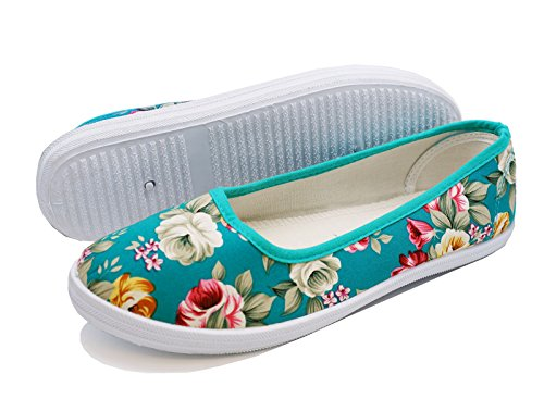 Ladies Green Floral Canvas Flat Slip-on Plimsoll Pumps Casual Shoes Sizes 3-8 SEYBi7i4