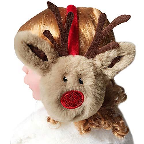 CLARA Girls Cute Earmuffs Kids Christmas Reindeer Headband
