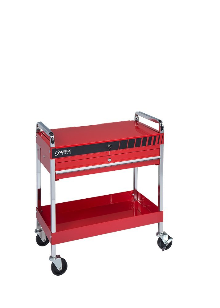 Service Cart with Locking Top and Locking Drawer- Red