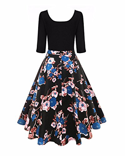 Swing A Flared Midi line Blue Women's Dress Dress Retro Floral 1950s Vintage BIUBIU Zqv6Own