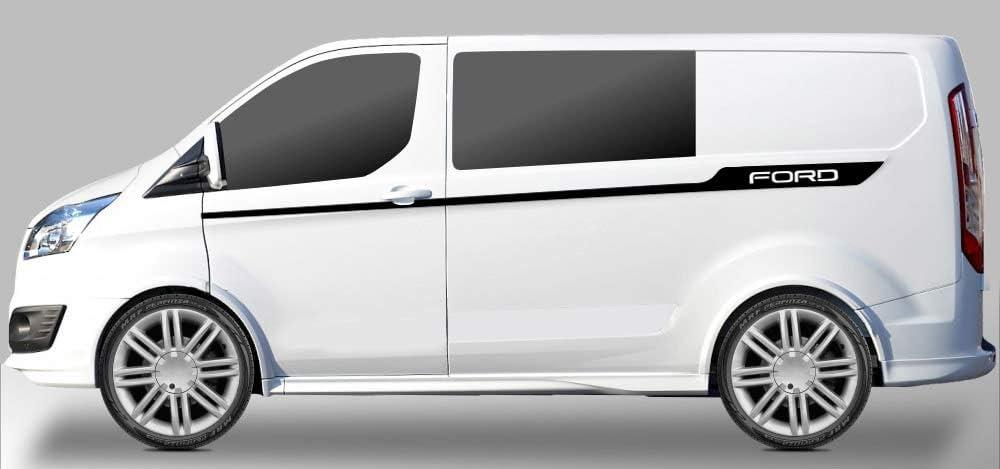BLS Pegatinas de Vinilo con Franjas Laterales de Ford Transit Franja Delgada de la Puerta (Negro): Amazon.es: Coche y moto