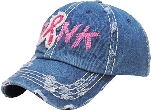 H-208-73 Breast Cancer Ribbon Baseball Cap - Denim (Shredded) - Avon Blue Rhinestone