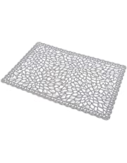 SOURBA Insulated Placemat Transparent Plastic PVC Table Mats Steak Pad for Theme Restaurant,Flower Gray