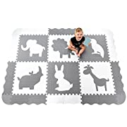 Large (5x7') Baby Play Mat with Interlocking Foam Floor Tiles. Neutral, Non Toxic Baby Playmat for Nursery, Playroom or Living Room (Grey and White)