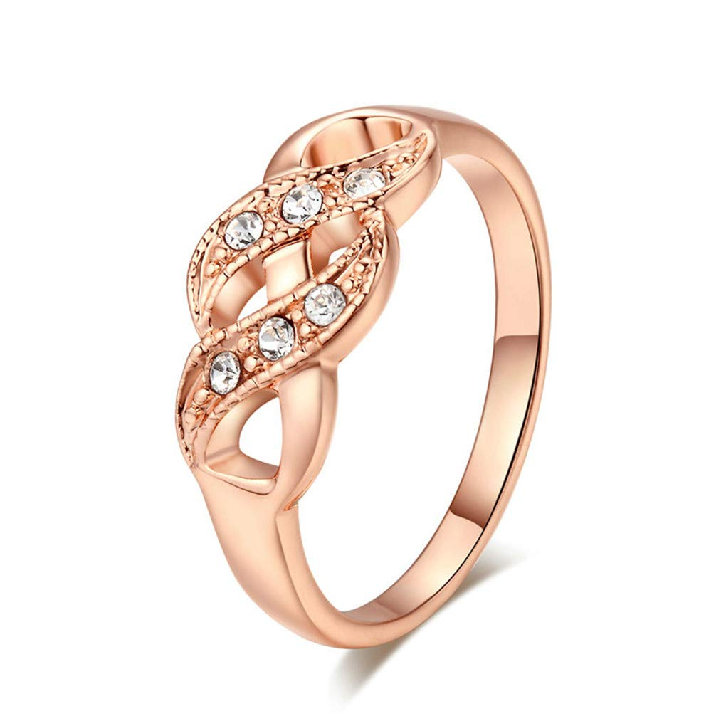 DARLING HER Ring for Women Simple Style Wave Shape Crystals Rose Gold Color /& Silver Color Fashion Jewelry