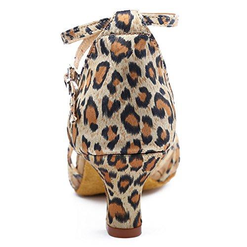 Roymall Kvinna Leopard Satin Latin Dansskor Sällskaps Salsa Tango Prestanda Skor, Modell Wzjcl-5,7 B (m) Oss