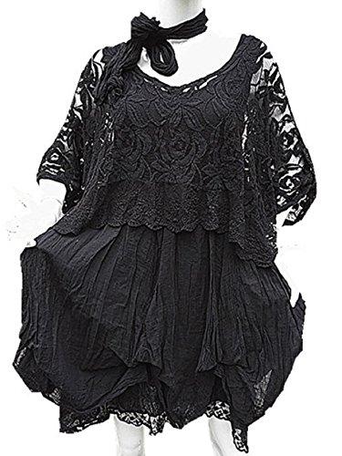 Fashionfolie - Femme Robe Grande taille unique 42 44 46 48 50 DENTELLE haut top mariage soirée chic NOIR