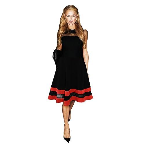 Celebrity Paris Hilton Inspired Red Black Mesh Insert Contrast Skater Dress 8-16