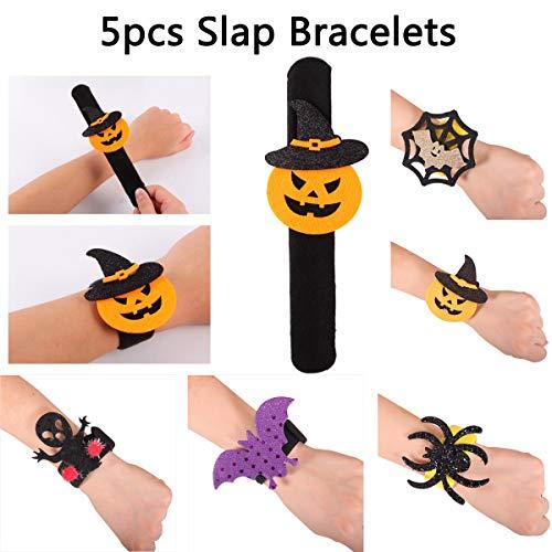 Halloween Decorations Party Supplies Set - New Year 3D Luminous Bats Wall Sticker, Slap Bracelets Spider Pumpkin Slap Bands,Luminous Elf Ears Xmas Decor Set,5pc Slap Bracelets+12pc 3D Luminous Bats+2 Pair Elf Ears