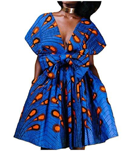 Full Circle Wrap - Mfasica Womens Convertible Wrap Dashiki Full Circle Party Short Dresses Blue L