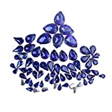 ZIJING Royal blue Small Big Size Silver Brass Metal Setting Teardrop Facets Sew On Crystal Rhinestones Gems Beads With 4 Holes