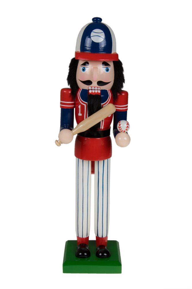 Traditional Christmas Wooden Baseball Player Nutcracker by Clever Creations | Red and Blue Base Ball Outfit Carrying Baseball Bat | 15'' Tall Perfect for Shelves and Tables