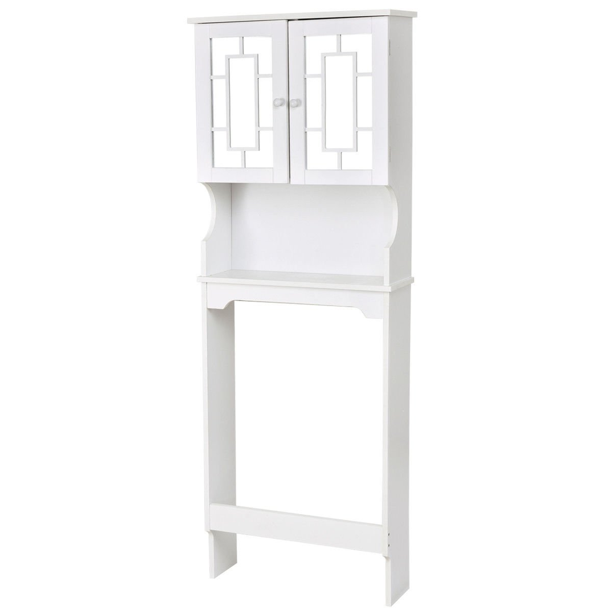 White Bathroom Over The Toilet Space Saver Storage Cabinet Shelf Organizer
