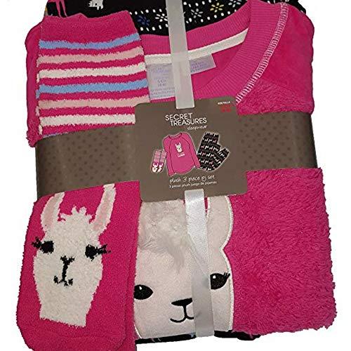 Womens Fuzzy Pajamas Shirt Pant Socks Set Warm Long Sleeve (More Colors) (Pink Llama, Large 12-14) (Pajamas Pants Shirt)