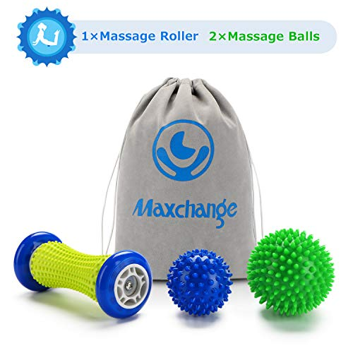 Foot Roller Massage Ball for Plantar Fasciitis - Massager Roller Ball Set, 1 Foot Roller and 2 Spiky Massage Balls Deep Tissue, for Trigger Point Therapy/Muscle Recovery/Stress Relief