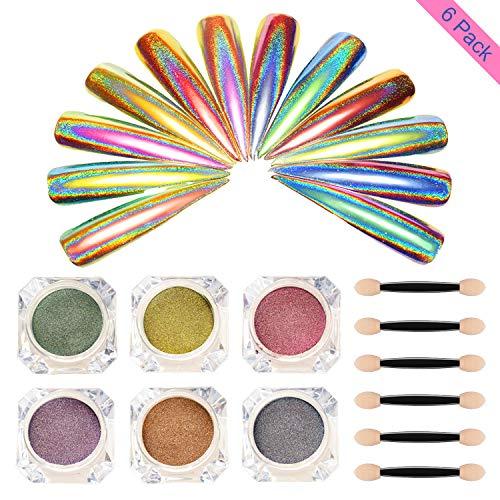 Holographic Glitter Nail Powder- Nail Glitter Dust Laser Rainbow Sheen Chrome Nail Powder Nail Art Pigment Manicure,Halo Glitter Nail Acrylic Powder Revel Nail Dip Powder(6 Colors/5g each)