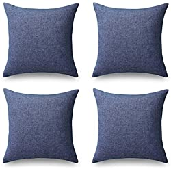 HOME BRILLIANT Set of 4 Lined Linen Textured Decorative Throw Pillow Cover Indigo Cushion Covers for Sectional, 18x18 inch, Navy Blue
