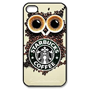 Specially Design Starbucks Coffee Iphone 4 4S With Owl Background Hard Case Cover