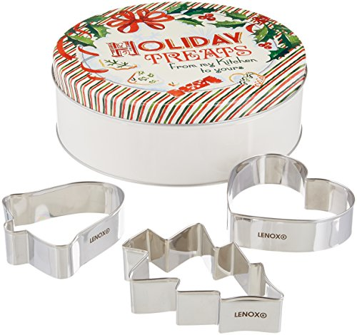 Lenox Holiday Bakeware (Lenox Home for The Holidays Round Tin with 3 Cookie Cutters, Multicolor)