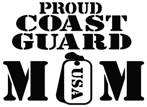 Proud Coast Guard Mom USA Vinyl Decal Sticker For Vehicle Car Truck Window Bumper Wall Decor - [6 inch/15 cm Wide] - Gloss WHITE Color