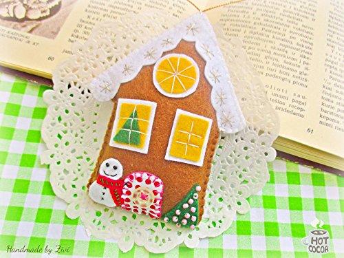 (Whimsical Gingerbread House Xmas Ornament, Felt Gingerbread House, Christmas tree decoration)