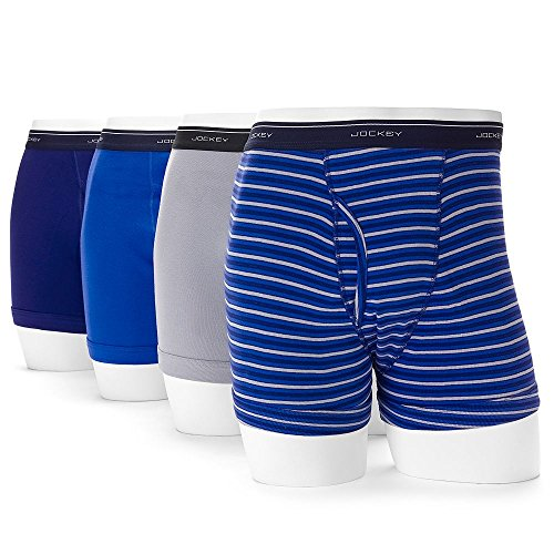 Jockey Mens Cotton Full-Rise Boxer Brief 4-Pack Intense Royal/Majestic Blue/Mid Grey Boxer Briefs MD