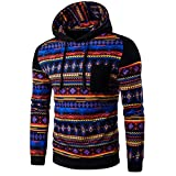 Men Sweatshirt ,Leegor Bohemia Retro Hooded Stripe Print Tops Jacket Coat Outwear