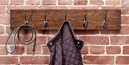 Rustic Style 5-Hook Wooden Coat Rack, Distressed Dark Brown with Aged Brass Hooks, Solid Wood, Wall Mounted, Vintage Entryway Coat Rack, Large, 30'' x 5.5'' by Bleecker Station (Image #3)