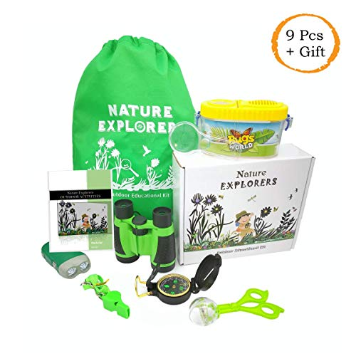 Nature Explorers Outdoor Backyard Adventure Educational Kit Toy for Kids Children Toddlers Boys and Girls w/Binoculars Compass Whistle Magnifying Glass Flashlight Bug Container Tweezers and Backpack