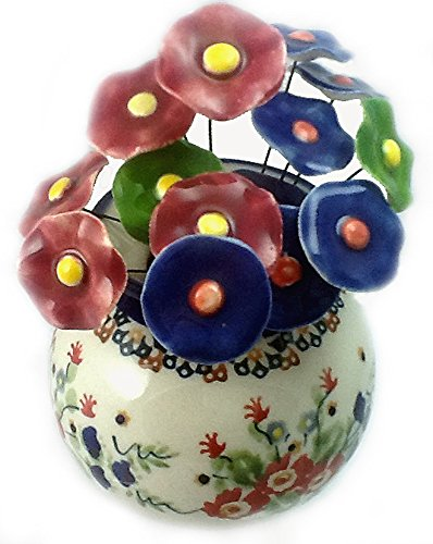 Short Round Flower Vase in the Signature Polish Pottery Pattern R268 or Lidia Plus 15 Coordinating Ceramic Flowers Handmade in Poland Polish Pottery Vase