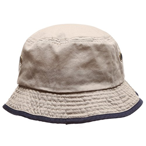 Down Under Cotton Hat (Summer Adventure Foldable 100% cotton stone-washed bucket hat with trim.(Khaki-Navy-LXL))