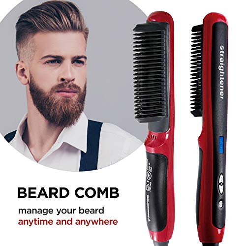 Loftus Enhanced Ionic Beard Straightener Comb, Hair Straightening Brush Instant Styling Comb for men - Curling and Straightening All Kinds of Hair with Fast Heat