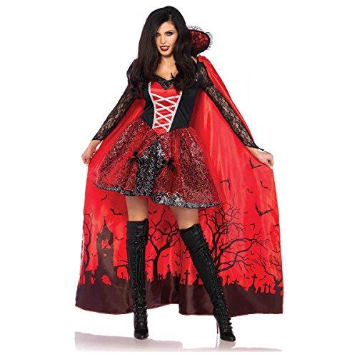 Dracula Costume For Women (Leg Avenue Women's Sexy Vampire Temptress Costume, Black/red,)
