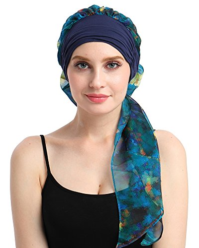 (Breathable Cancer Turban Cap For Chemo Patients Pre-tie Headcovers For Alopecia Women)