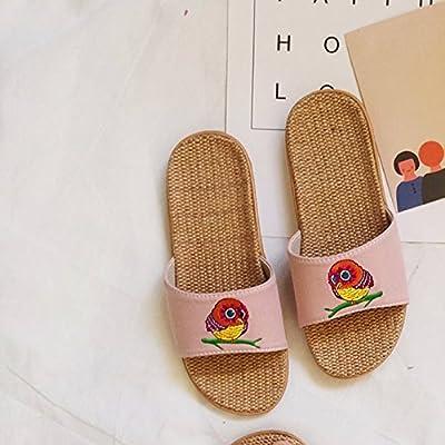 fankou Girl children slippers indoor linen slip resistant men's slippers seasons boys cotton linen slippers summer female thick (23cm), ,33/34 Pink
