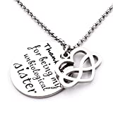 N.egret Infinity Love Heart Pendant Necklace Sisters and Friends Wedding Gift Birthday Anniversary (Thank you)