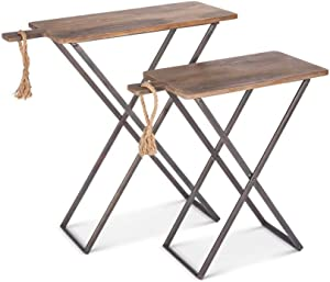 Lone Elm Studios S/2 Wood Tray Tables Christmas, 29.5InL x 12InW x 1.25InH, Brown
