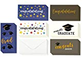 Graduation Cards - Money Cards - 6 Unique Designs: Congratulations, Cap, Confetti, Stars - for High School, College, & More - Bulk Set - Includes 36 Cards with Envelopes -3.5 x 7.25 Inches