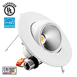 TORCHSTAR High CRI90+ 6inch Dimmable Gimbal Recessed LED Downlight, 10W (75W Equiv.), ENERGY STAR, 2700K Soft White, 800lm, Adjustable LED Retrofit Lighting Fixture, 5 YEARS WARRANTY