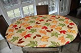 """LAMINET Elastic Fitted Table Cover - ALL-OVER LEAVES - Oblong/Oval - Fits tables up to 48'' x 68"""""""