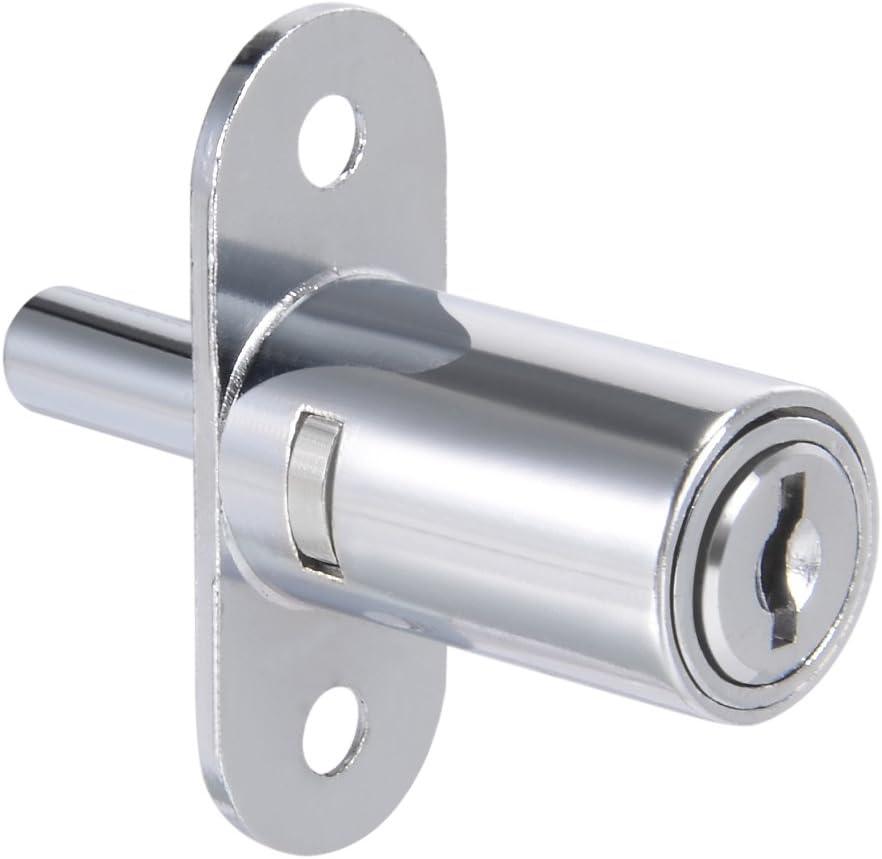 "uxcell Drawer Desk Wardrobe Cabinet Push Plunger Lock, 3/4"" Cylinder Diameter 1-1/4"" Cylinder Length, Zinc Alloy Chrome Finish, Keyed Alike"