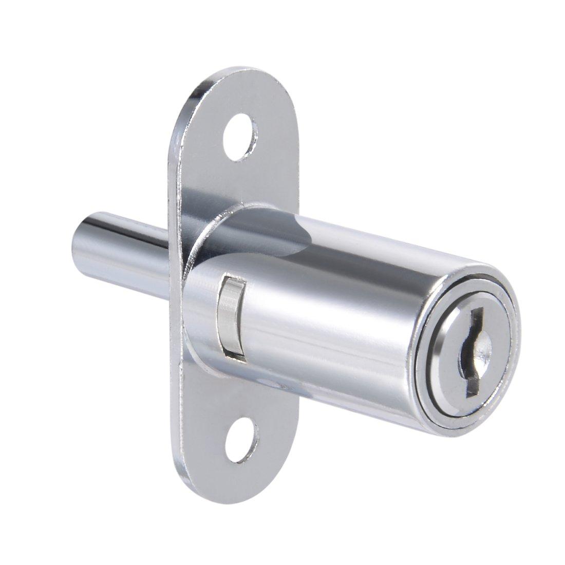 uxcell 3/4-inch(19mm) Cylinder Push Plunger Lock Zinc Alloy Chrome Finish, Keyed Alike a18030700ux0038