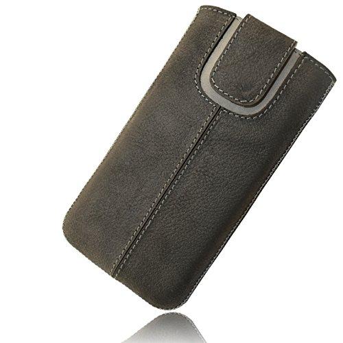 OrLine Etui Case Lederetui für Apple Iphone 7 PLUS 5,5 Echt Leder Case Ledertasche Tasche Lederetui mit Magnetverschluss in der Farbe anthrazit/grau Handarbeit