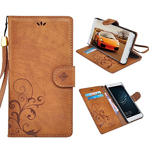 Huawei p9 Case, CORNMI Handmade Genuine Classic Vintage Leather Wallet Cover with Card Slot kickstand Protector for Huawei Ascend P9(Scarlet)