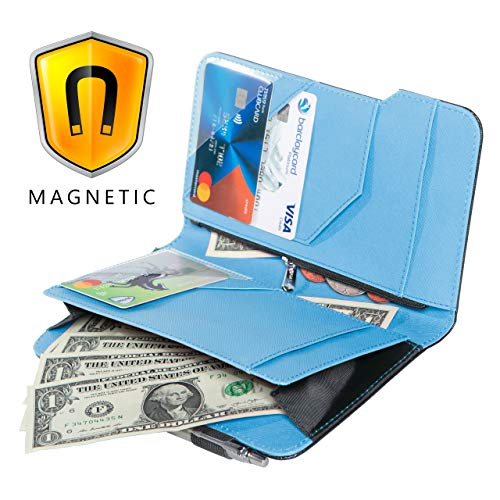 Ogalv 5x8 Server Book Blue for Waitress Waiter Organizer Magnetic with Zipper Pocket Money Pen Holder Fits Restaurant Guest Check Order Pad and Apron