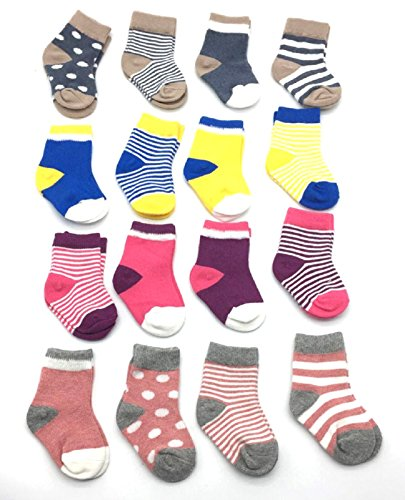 LUXEHOME (YR1607) Cozy 4 Style Baby Toddler Socks,16 Pairs per Pack (M 1-3 Years)