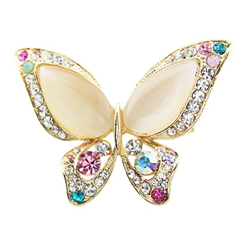 FOY-MALL Fashion Butterfly Opal Crystal Rhinestone Alloy Women Pin Brooch XZ1000 by FOY-MALL