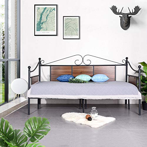 GreenForest Daybed Frame Twin Size with Wooden Fence Support Heavy Duty Steel Slats Platform Bed BaseMattress Foundation Box Spring Replacement Black