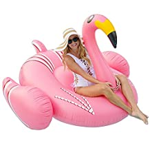 Inflatable Float Swimming Aids Pool Giant Thin Neck Flamingo Swim Floaties Bird Ride Floating Boat Summer Lounger Raft Beach Toys Outdoor for Adults & Children Pink 75 x 75 x 51inch