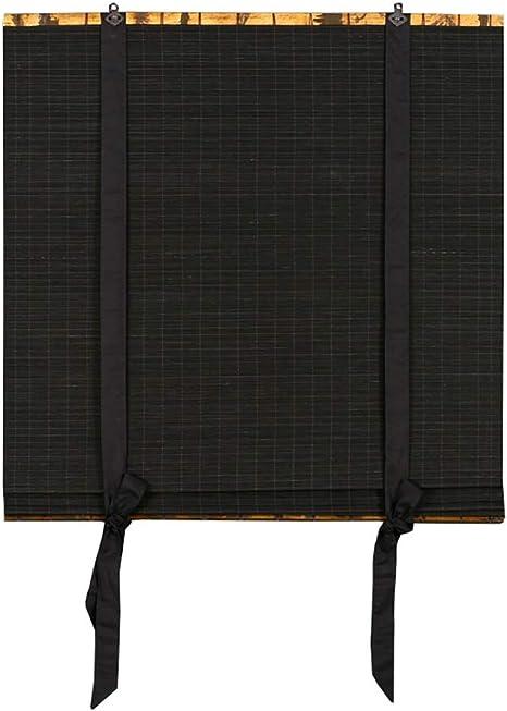 Estor enrollable YXX Cortinas del Rodillo de oscurecimiento de la luz Negra/oscurecimiento de la habitación - Persianas de Ventana Personalizadas sin Cuerda de bambú con conexión para Instalar: Amazon.es: Hogar